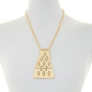 New Trina Turk Diamond Textured Pendant Necklace